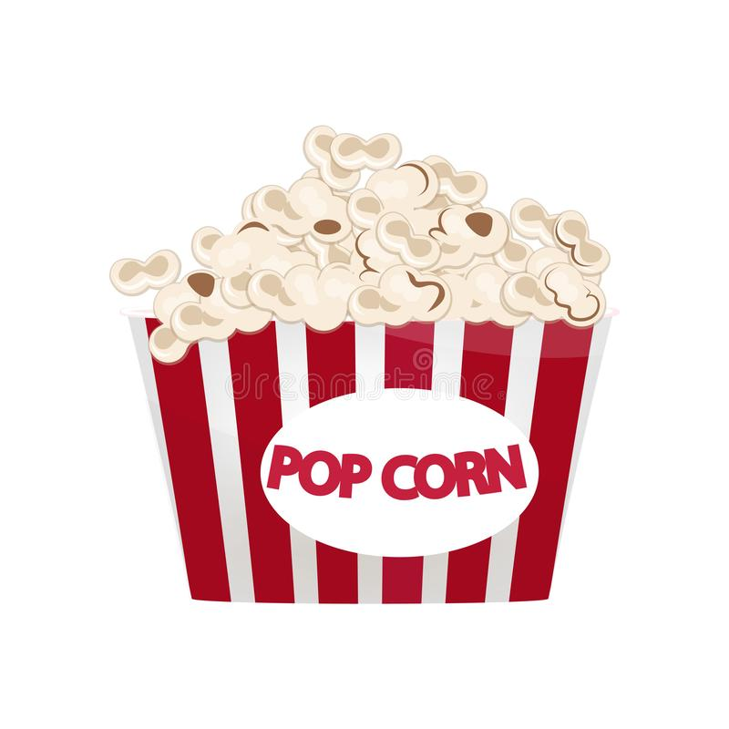 Largest red-and-white popcorn bucket filled with snack isolated on white background. Largest red-and-white popcorn bucket filled with snack. Cardboard or paper stock illustration
