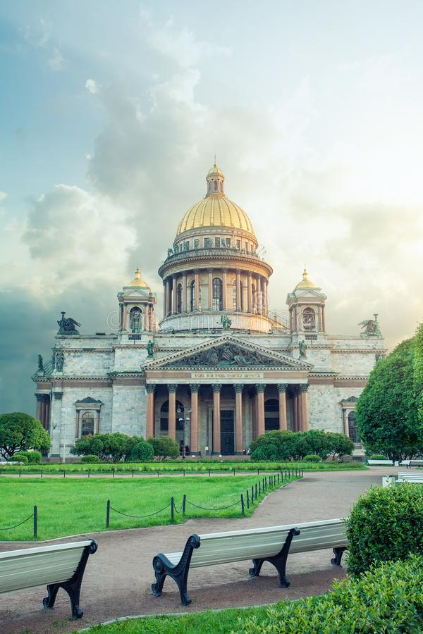 Isaac`s Cathedral or Isaakievskiy Sobor in Saint Petersburg. Beautiful summer view. The largest Russian Orthodox cathedral in the city. Isaac`s Cathedral or royalty free stock images
