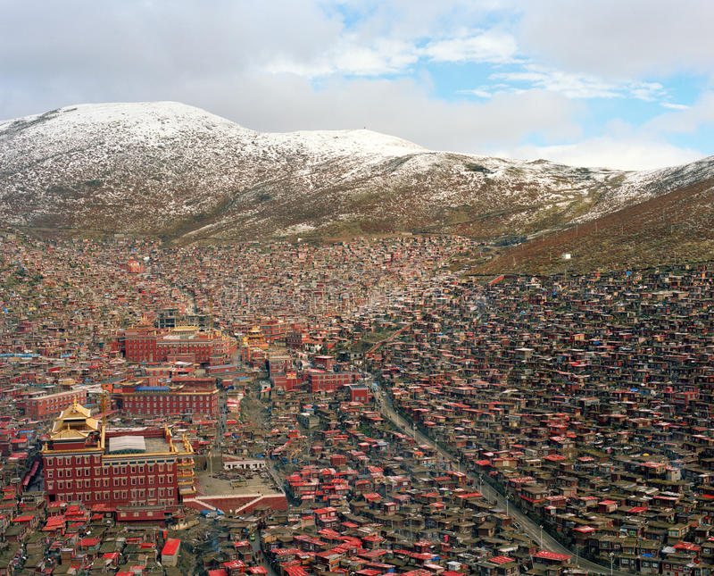The Largest self Construction Buddha College in SiChuan China stock image