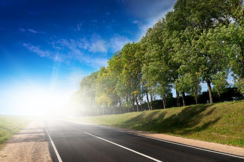 Largo camino a las colinas verdes. fotografía de archivo