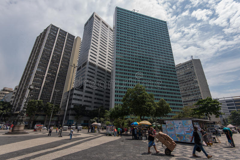 Largo da Carioca Square in Rio de Janeiro. Rio de Janeiro, Brazil - November 22, 2016: Largo da Carioca square in the city center is surrounded by business stock photography