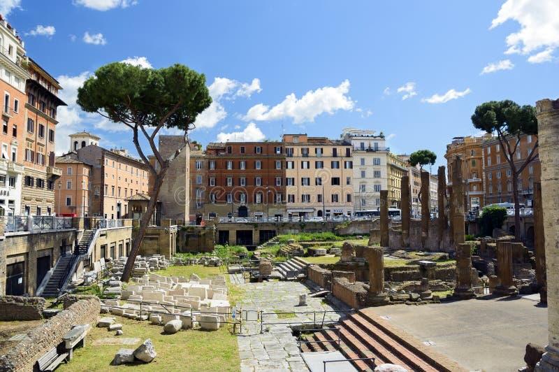 Largo di Torre Argentina Forntida fördärvar i Rome, Italien arkivfoto