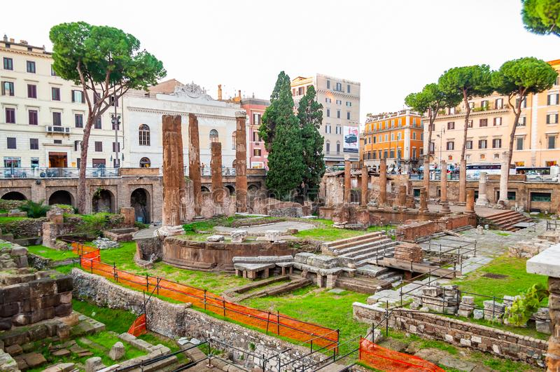 Largo di Torre Argentina is a square in Rome, Italy, with four Roman Republican temples and the remains of Pompey`s Theatre. It i. Rome, Italy - November 17 royalty free stock photo