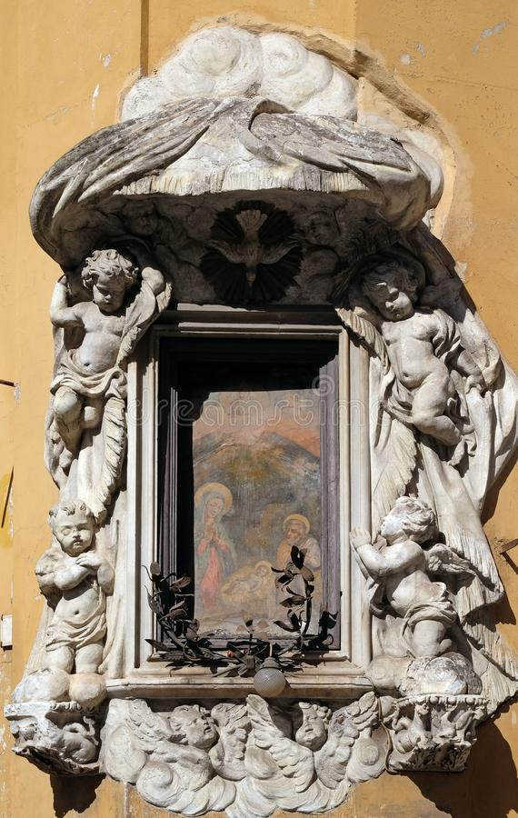 Largo Pietro Di Brazza, świątynia narodzenie jezusa w Rzym zdjęcie royalty free