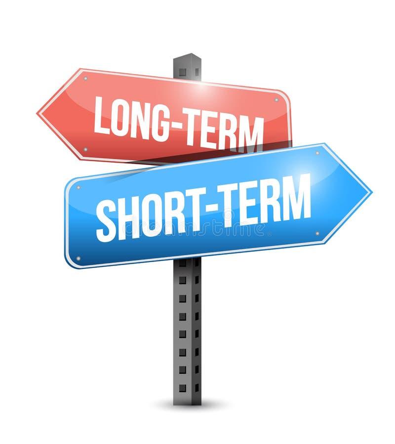 Largo plazo, ejemplo a corto plazo de la señal de tráfico stock de ilustración