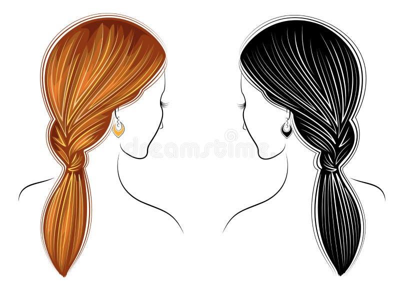 Largo trenza el pelo marr?n creativo, aislado en el fondo blanco Peinados de una mujer Conjunto de ilustraciones del vector stock de ilustración