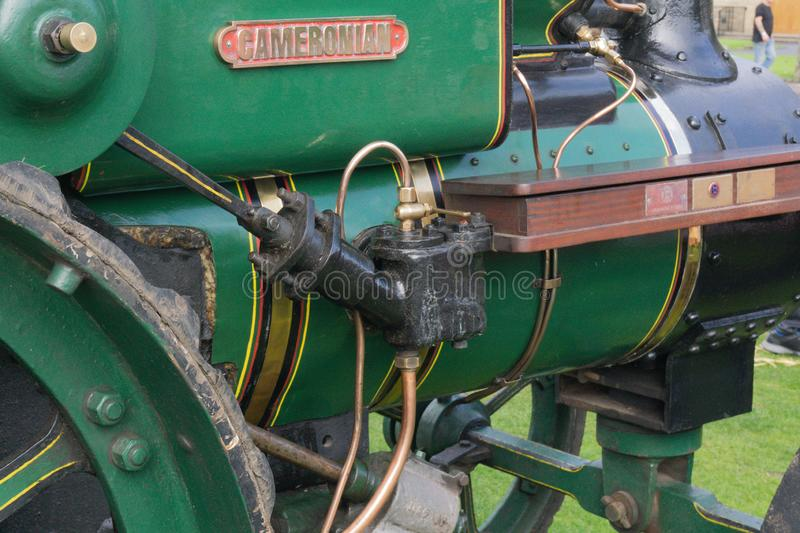 Ancient Mechanical Steam Piston on Cameronian Tractor. royalty free stock images