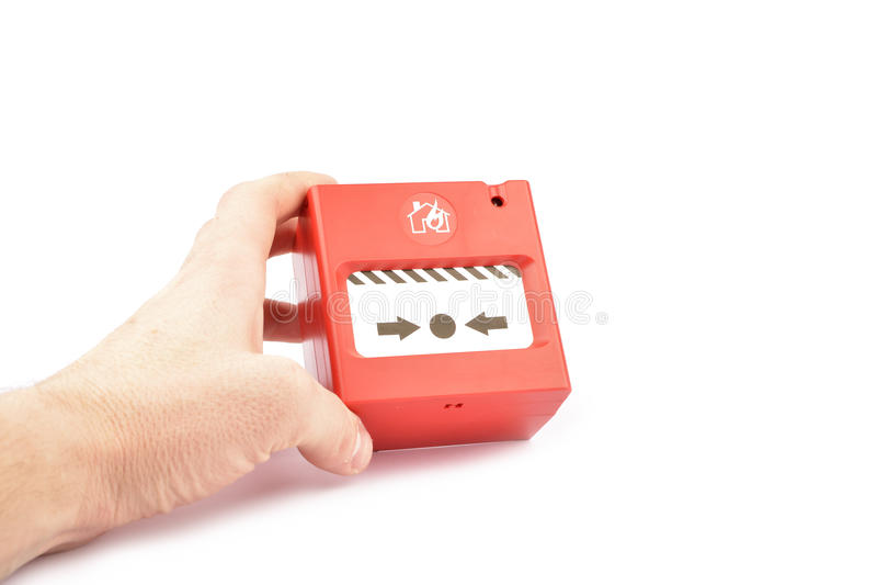 Larm för röd brand som isoleras på vit bakgrund royaltyfri bild