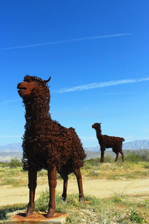 Larmabeeldhouwwerk, het Park van de de Woestijnstaat van Anza Borrego, Californië stock foto