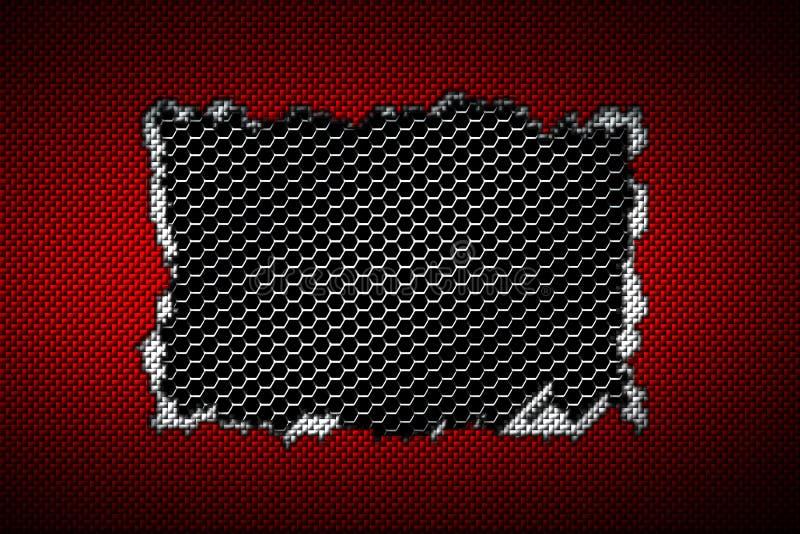Larme rouge et blanche de fibre de carbone sur la maille métallique noire illustration stock