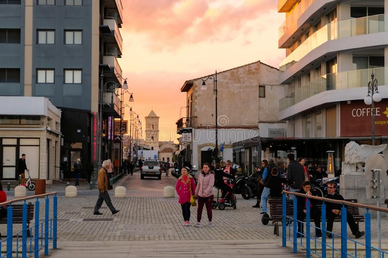 Larnaca city center in sunset light. View towards Saint Lazarus Church royalty free stock images