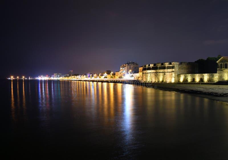 Larnaca Promenade night scene stock photo