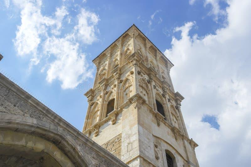 LARNAKA, ZYPERN - 14. SEPTEMBER 2018:Glockenturm stockbilder