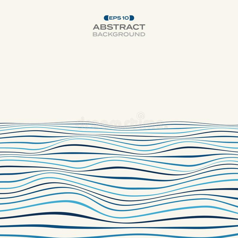 Large of color level of blue stripe line wavy pattern backgroun vector illustration