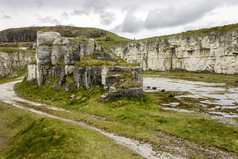 Larry Bane Quarry. Ballintoy, Northern Ireland. The Larry Bane Quarry, a famous filming location for fantasy TV shows stock images
