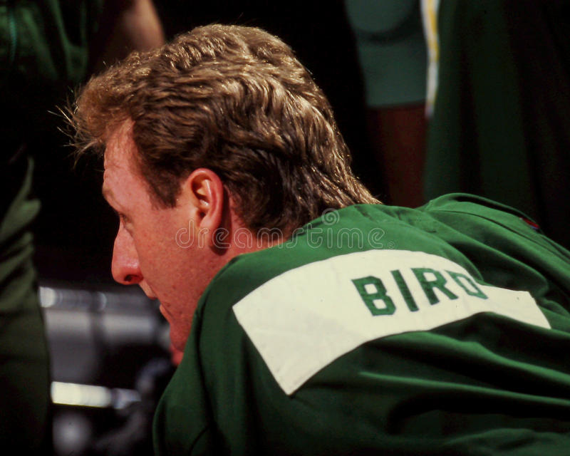 Larry Bird, Boston Celtics. Boston Celtics legend Larry Bird. (Image from a color slide royalty free stock images