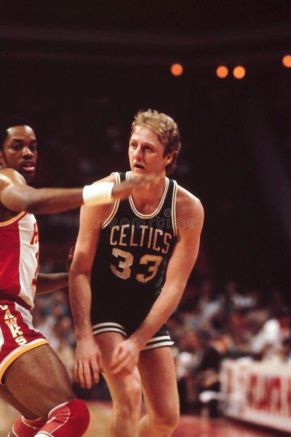 Larry Bird, Boston Celtics. Vintage Boston Celtics image of legend Larry Bird. (Image from color slide royalty free stock images