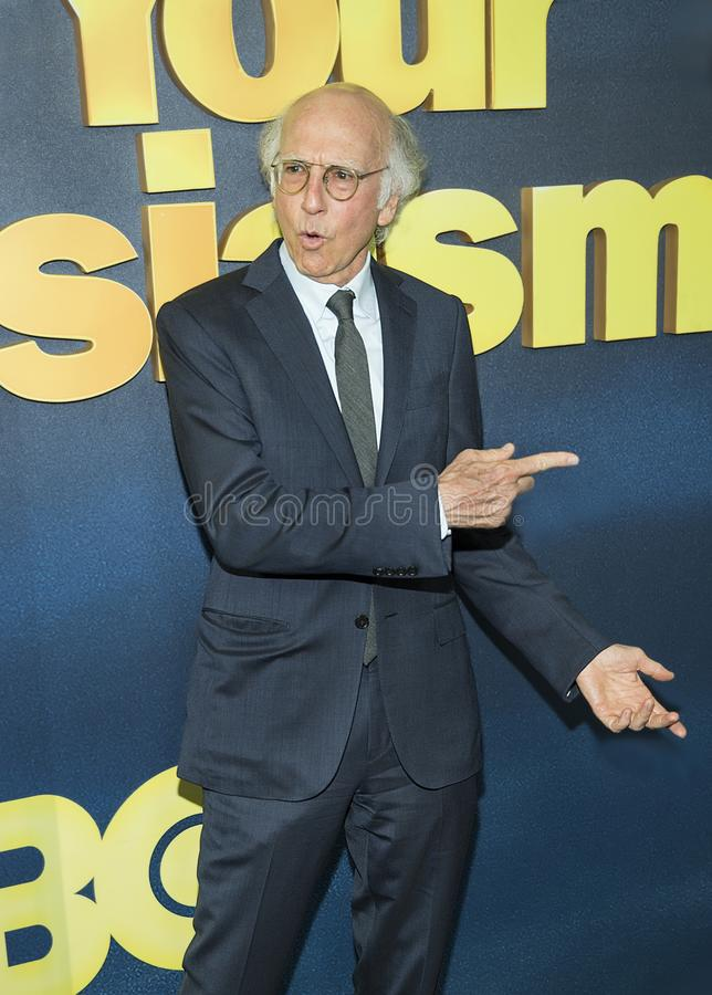 Larry David. Comedic actor and writer Larry David, who is the creator, Executive Producer, and star, arrives for the New York City premiere of HBO`s `Curb royalty free stock photography