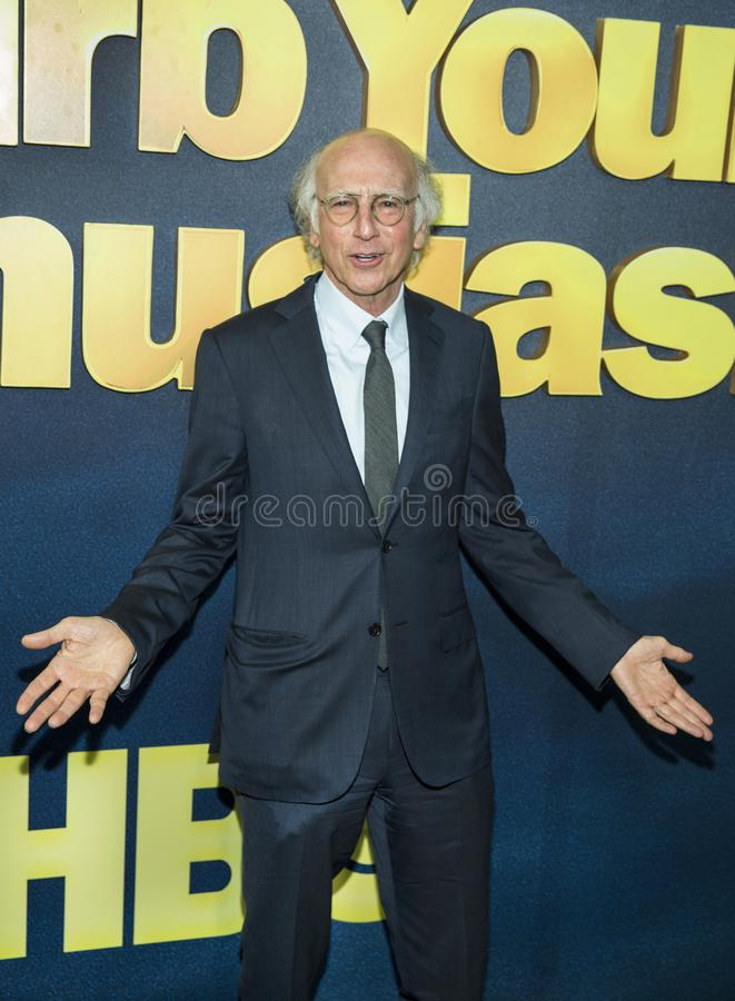 Larry David. Comedic actor and writer Larry David, who is the creator, Executive Producer, and star, arrives for the New York City premiere of HBO`s `Curb stock image