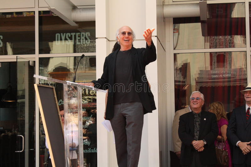 Larry David. Greeting fans in Hollywood stock photo