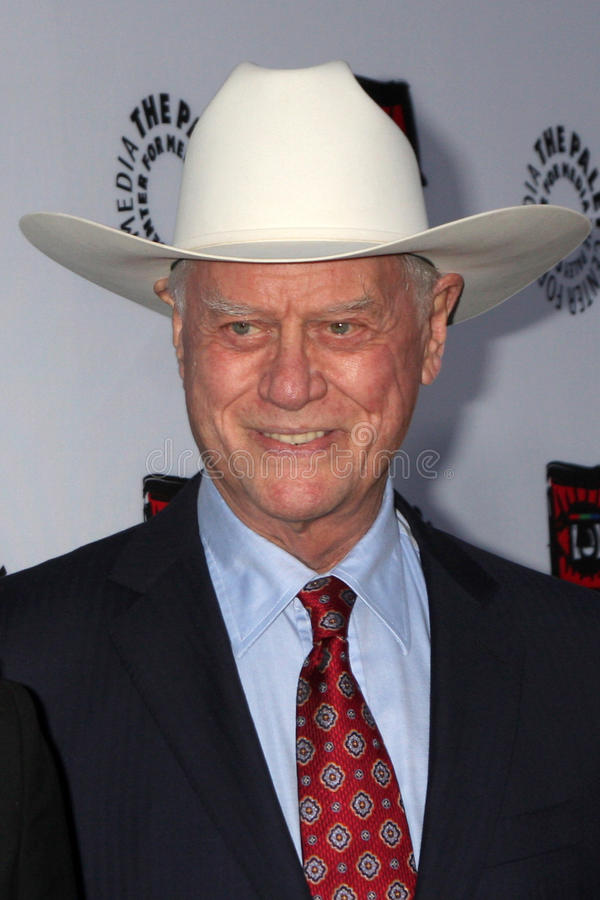 Larry Hagman. LOS ANGELES - APR 12: Larry Hagman arrives at Warner Brothers Television: Out of the Box Exhibit Launch at Paley Center for Media on April 12, 2012 royalty free stock photography