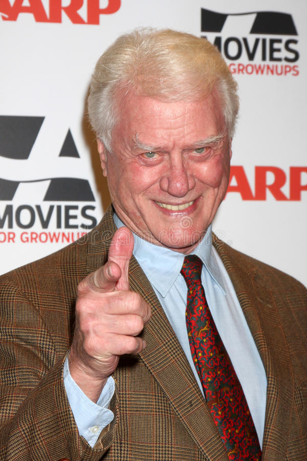 Larry Hagman. LOS ANGELES - FEB 7: Larry Hagman arrives at the 2011 AARP 'Movies for Grownups' Gala at Regent Beverly Wilshire Hotel on February 7, 2011 in royalty free stock photo