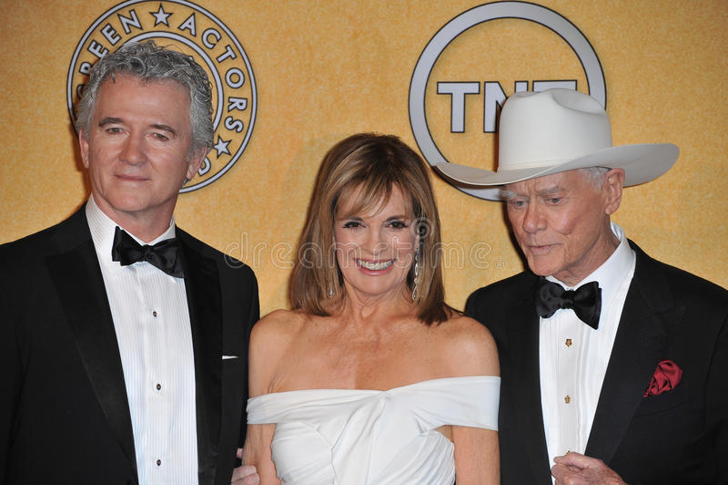 Larry Hagman, Patrick Duffy, Linda Grey stock photo