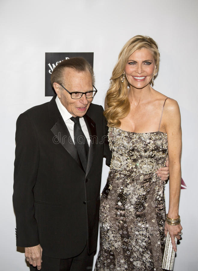 Larry King and Shawn King. Legendary call-in talk show host Larry King and wife Shawn King, arrive on the red carpet for the Friars Foundation gala at the stock images
