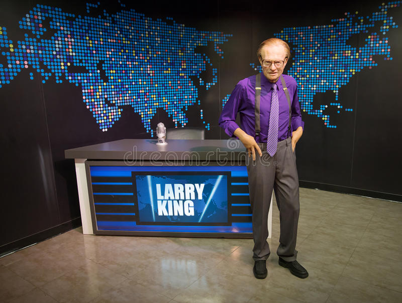 Larry King. Wax statue of Larry King, communicator and celebrity, Madame Tussauds museum Las Vegas stock image