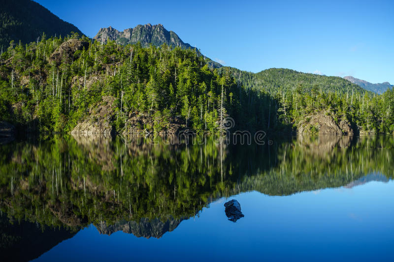 Larry Lake. At Hydro Hill on Pacific Rim HIghway to Tofino, British Columbia, Canada stock photos