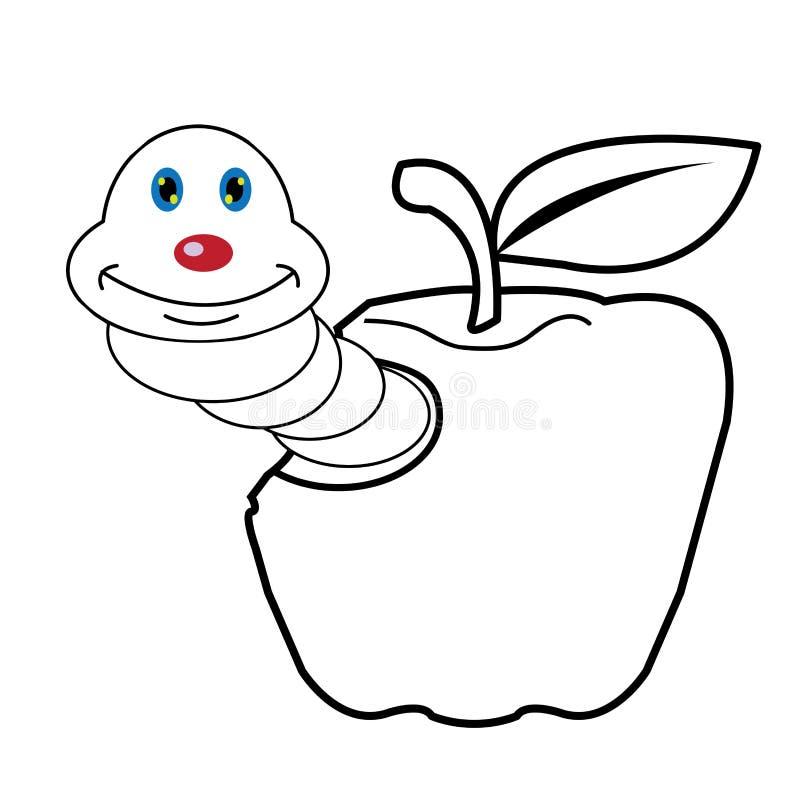 Larvenwurm- und Apfelkarikaturfarbtonseite für watscheln vektor abbildung