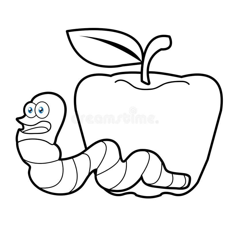 Larvenwurm- und Apfelkarikaturfarbtonseite für watscheln stock abbildung