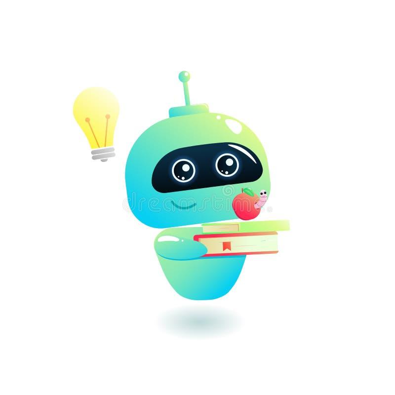 Larwa uczy się Nauki chatbot z książką edukacja w sieci ilustracja wektor