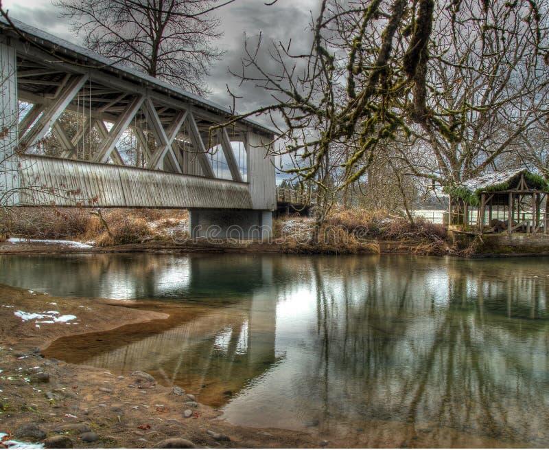 Larwood täckte bron royaltyfri bild