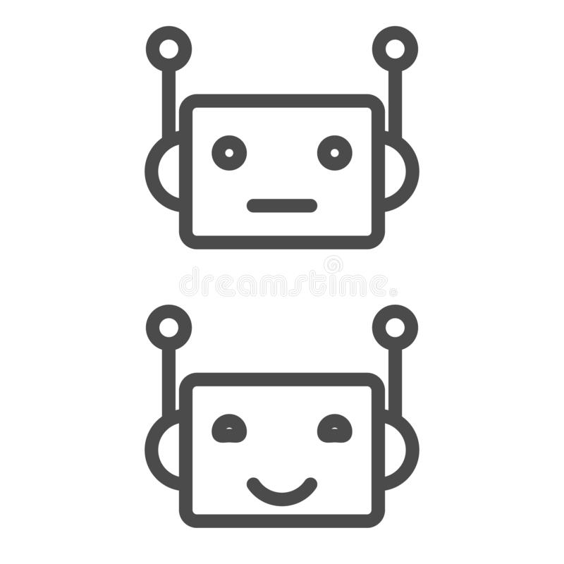 Larwy ikona Chatbot ikony pojęcie Śliczny uśmiechnięty robot Wektorowa nowożytna kreskowa charakter ilustracja odizolowywająca na royalty ilustracja