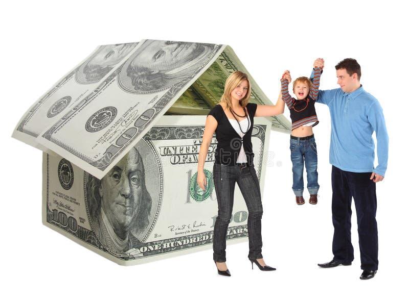 larwy kolażu dolarowy rodzinny obwieszenia dom zdjęcia stock