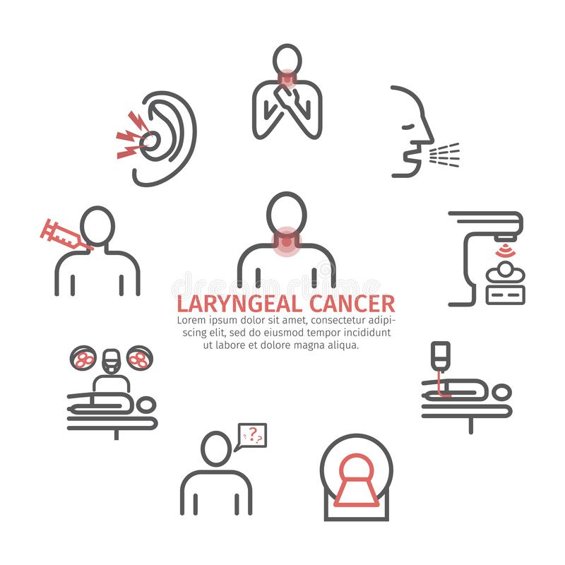 Laryngeal cancer banner. Symptoms, Causes, Treatment. Line icons set. Vector signs for web graphics. Laryngeal cancer. Symptoms, Causes. Line icons set. Vector vector illustration