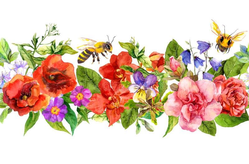 Las abejas, prado florecen, las hierbas del verano, hojas salvajes Repetición de la frontera horizontal floral watercolor ilustración del vector