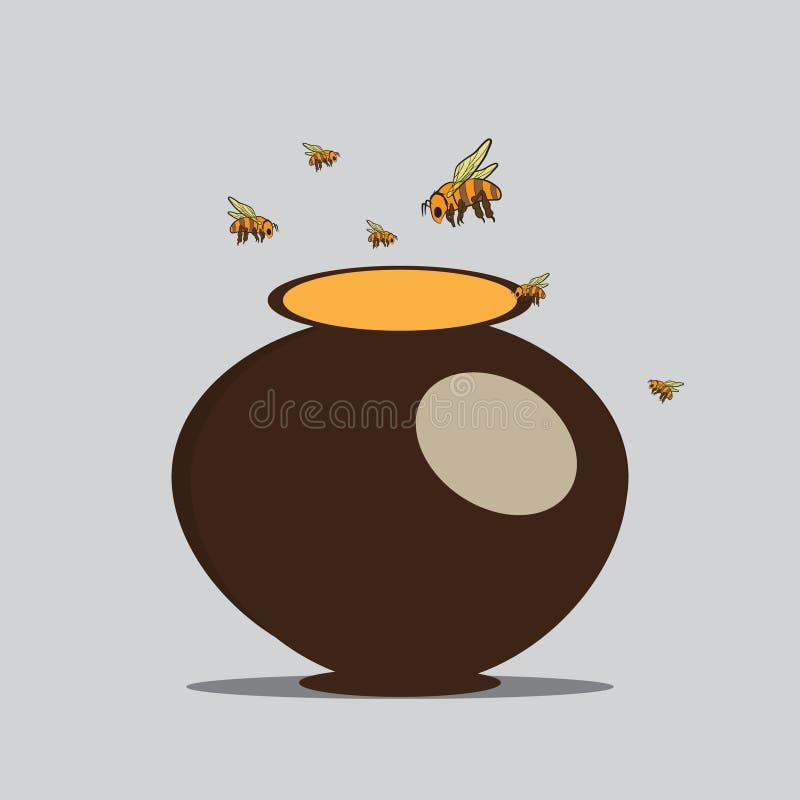 Las abejas vuelan a la jarra con la miel ilustración del vector