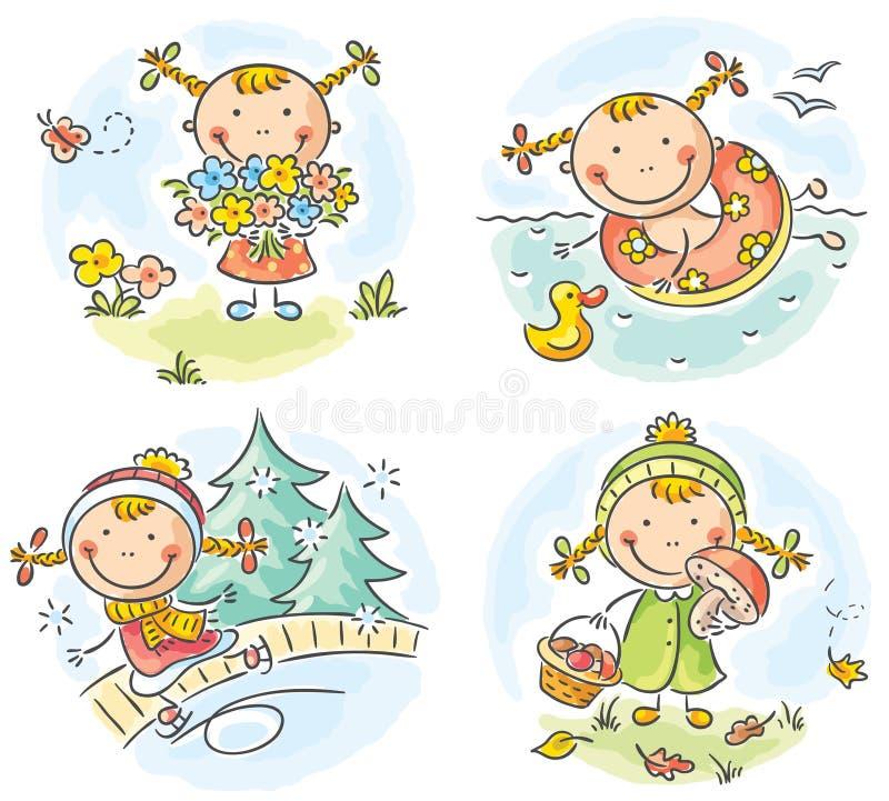Las actividades de la muchacha durante las cuatro estaciones stock de ilustración