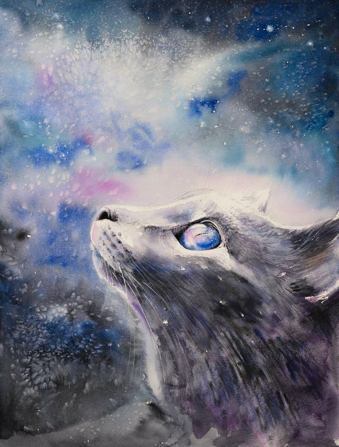 Las acuarelas del gato de la noche pintaron imágenes de archivo libres de regalías