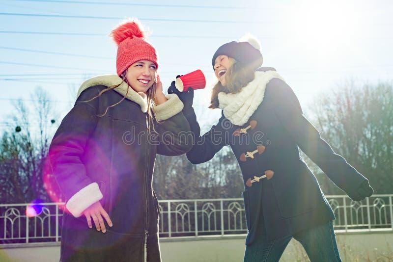 Las adolescencias de las muchachas gritan en una taza de papel del megáfono, vestida en ropa del invierno, día de invierno solead fotos de archivo libres de regalías