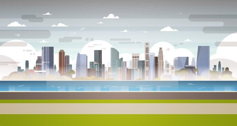 Las aguas residuales sucias del tubo de la planta del paisaje de la ciudad de la contaminación atmosférica de la naturaleza conta stock de ilustración