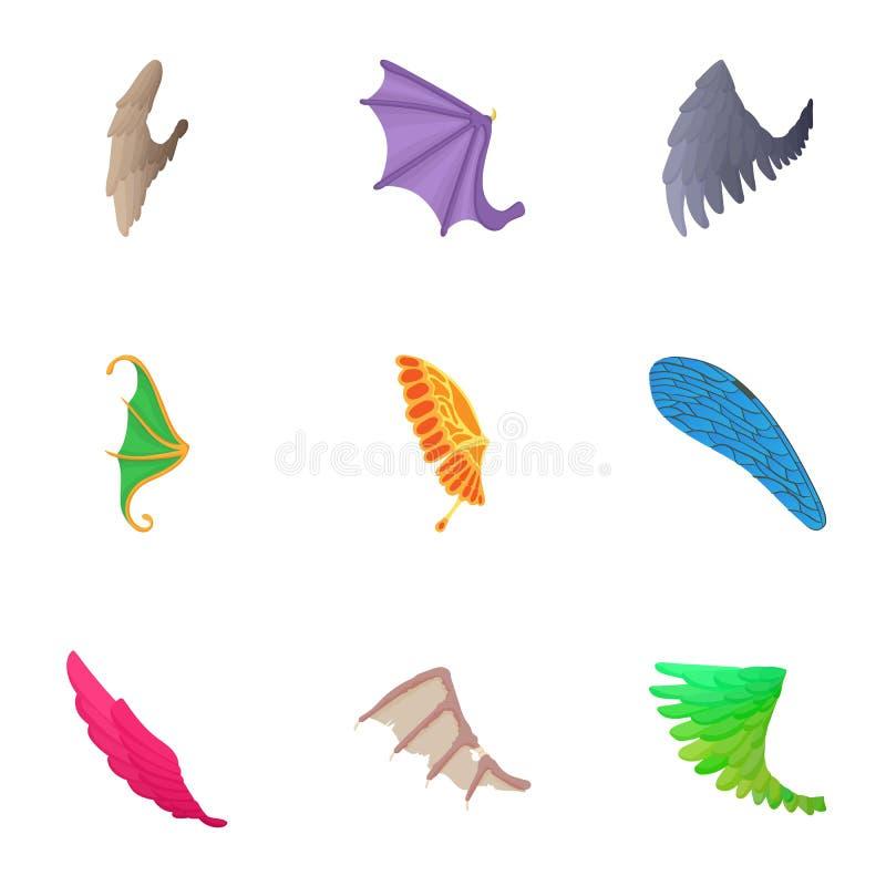 Las alas de los iconos del pájaro fijaron, estilo de la historieta libre illustration