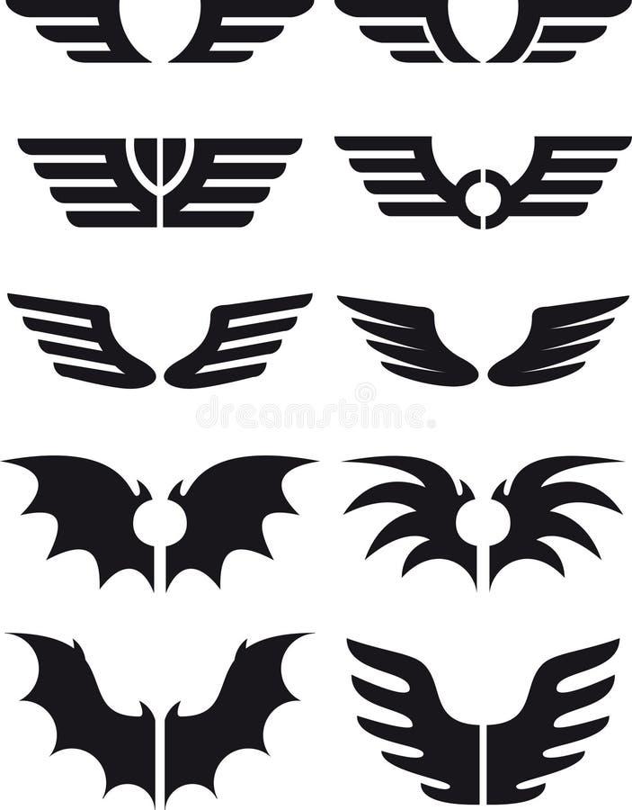 Las alas fijaron 02 ilustración del vector