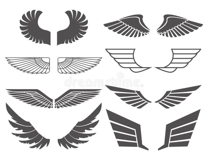 Las alas fijaron 2 stock de ilustración