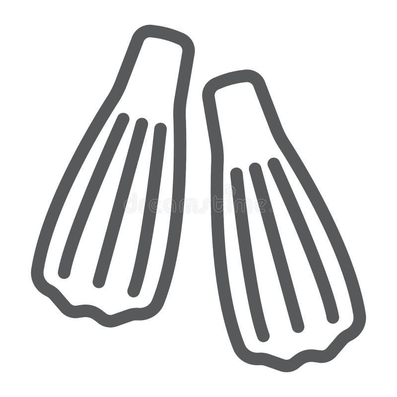 Las aletas de la natación alinean el icono, el salto y el submarino ilustración del vector