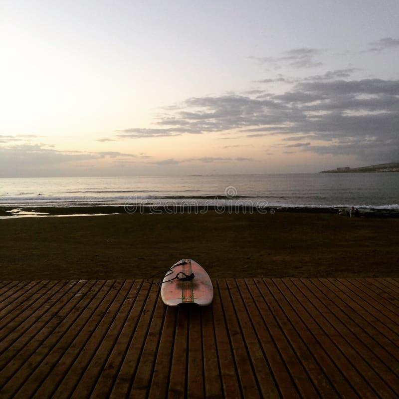 Las Amériques Ténérife du playa De de planche de surf photos libres de droits