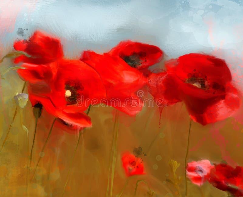 """Las amapolas rojas del †de las flores de la primavera y del verano """"colocan fotografía de archivo"""