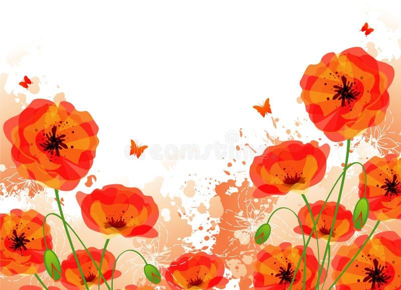Las amapolas rojas mueven hacia atrás ilustración del vector